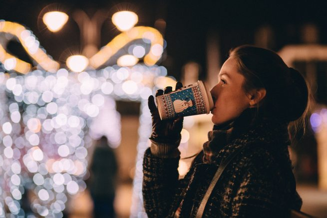 holiday coffee picture of girl drinking coffee