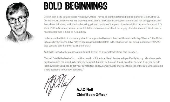 letter from founder aj oneil of detroti bold coffee